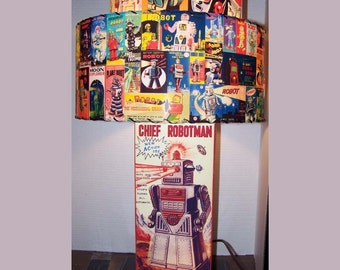 Vintage Tin Robot Box LAMP and double decker LAMP SHADE
