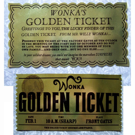 Golden Ticket from Willy Wonka and Charlie and the Chocolate