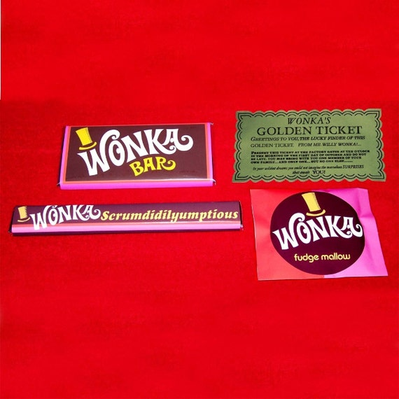 Willy Wonka 1971 GOLDEN TICKET and 3 WONKA CanDY BarS