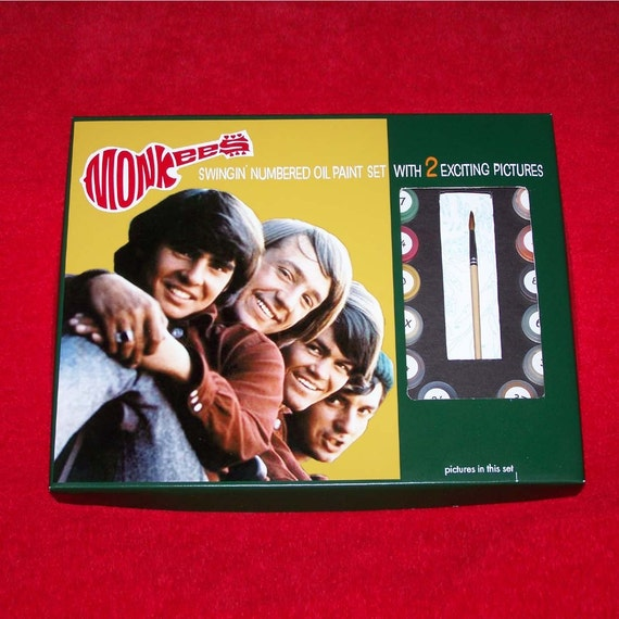 Reproduction MONKEES 1960's PAINT By NUMBER KiT  Monkee Traits complete with paints, prints and repro original box