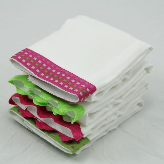 RASPBERRY Burp Cloth Bundle of Four, baby girl gift set of fuchsia and lime green coordinating burp cloths