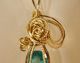 Wire Wrapped Gold Filled Green Apatite Pendant