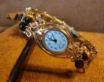 Tiger's Eye14K Rolled Gold Bangle Bracelet Watch