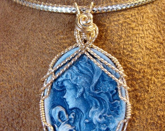 Blue Resin 14K Rolled Gold Cameo Pendant