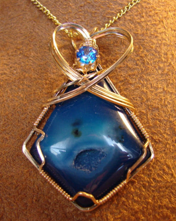 Blue Agate Druzy Set in 14K Rolled Gold Pendant with 1ct. Blue Topaz