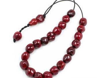 Worry Beads - Greek Komboloi - Scented Nutmeg Seeds - Dark Red
