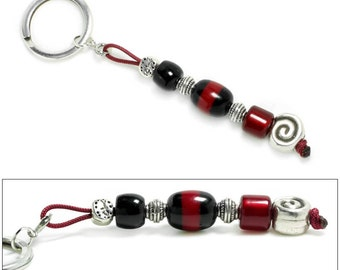 Keyring-Key Chain - High Quality Black and Burgundy Artificial Resin and Spiral