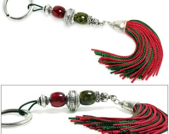 Xmas Keyring-Key Chain - High Quality Artificial Resin with Tassel - R and G