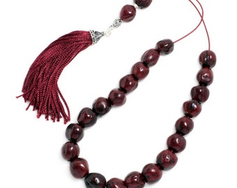 Worry Beads - Greek Komboloi - Scented Nutmeg Seeds and Silver - Burgundy