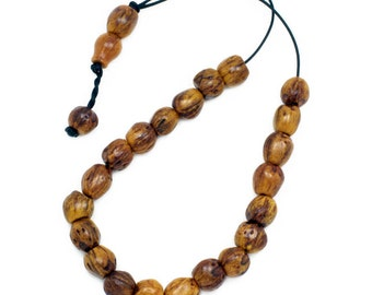 Worry Beads - Greek Komboloi - Scented Nutmeg Seeds - Light Brown