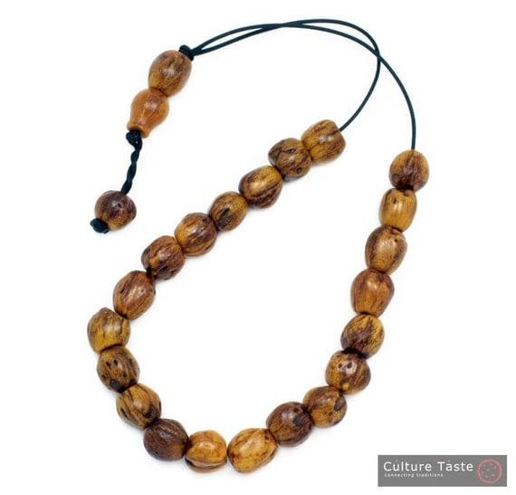 Worry Beads - Greek Komboloi - Scented Nutmeg Seeds - Light Brown