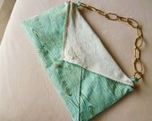 faux bois purse with vintage handkerchief and chain handle - blue shoulder bag - samantha clutch