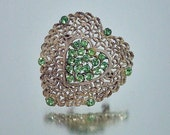 Vintage Green Rhinestone Heart Pin Unused