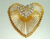 Monet Rhinestone Wired Heart Pin Vintage Valentine's Day