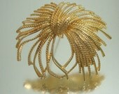 Large Monet Pin Brooch Textured Gold Tone
