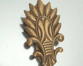 Art Deco Brass Dress Clip Beautiful Design Vintage