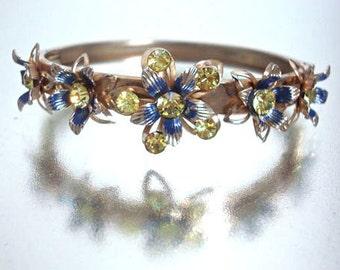 Vintage Metal Cutout Flower Rhinestone Bracelet