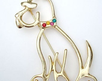 Scooby Doo Pin Dog Brooch Large Rhinestones Cutout