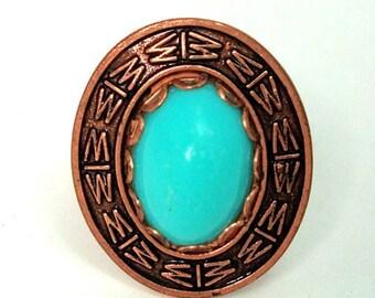 Copper Ring Blue Cabochon 12k gf  Vintage Adjustable
