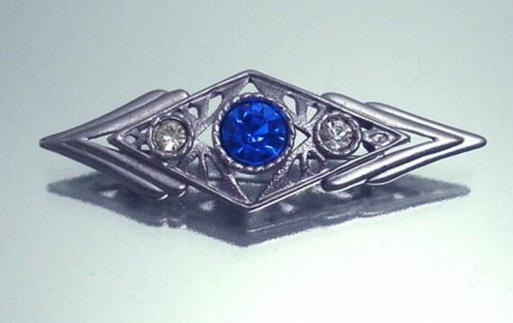 Art Deco Revival Rhinestone Pin BroochVintage