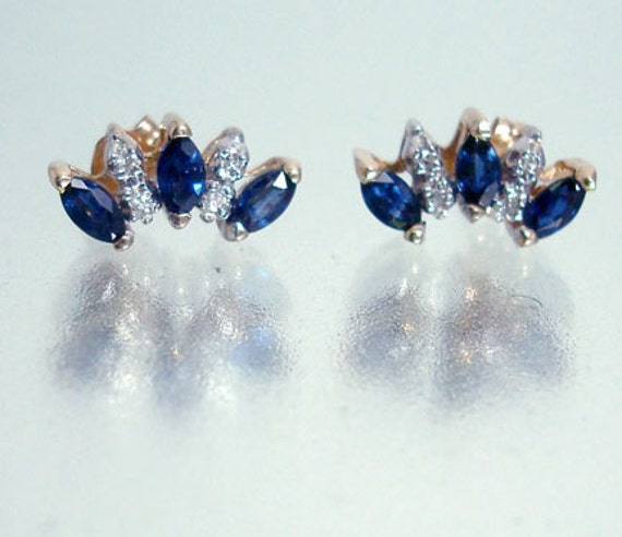Reserved for Anna 14k Gold Diamond and Sapphire Earrings Vintage