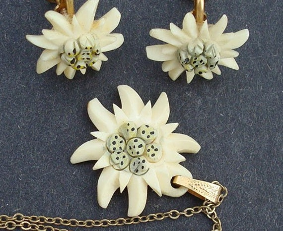 Vintage Pre Ban Ivory Edelweiss Necklace And Earrings