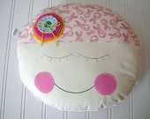 BREAST CANCER Awareness - comfort CHEMO - doll face pillow - pink minky - gift