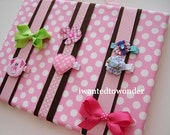 HairBow Holder Fabric Board ..Brown and Pink and White Dots ... Free Shipping ...Dots Ribbon ... for hair bows clips barrettes and clippies
