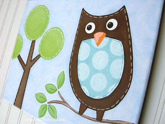 SALE .. Dwell Tree Owl .. Sunny Summer Sky ...Boys Nursery Kids Wall Art Canvas Painting with Personalization