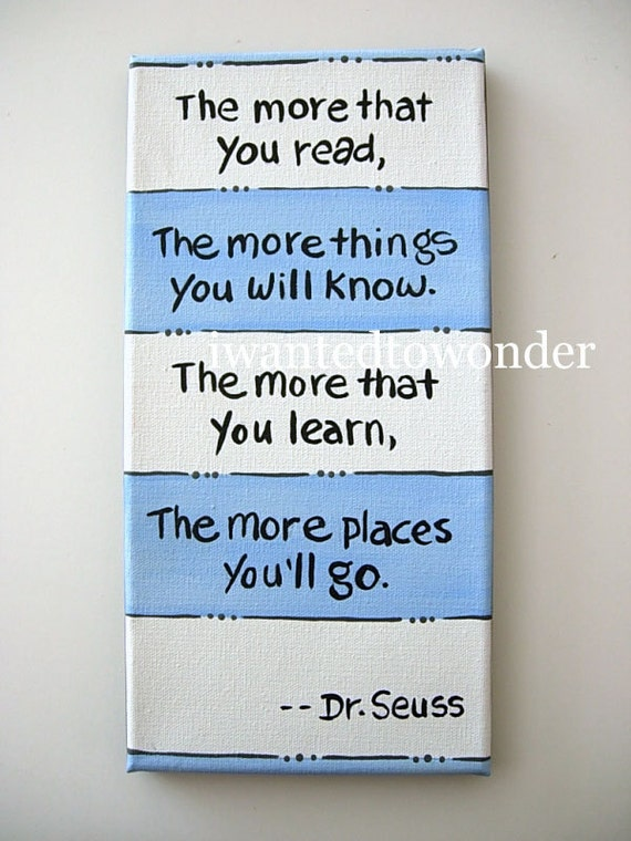 Dr. Seuss Kids Wall Art .  Blue and White ... hand painted Artwork for kids .Painted and Ready to Ship