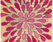 Rose Burst - Original Gouache Painting on Antique Book Paper