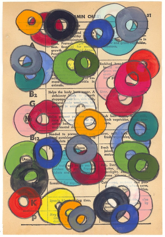 Vitamins - Original Gouache Painting on Antique Book Paper