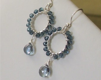 Little Blue Wire Wrapped Silver Hoops