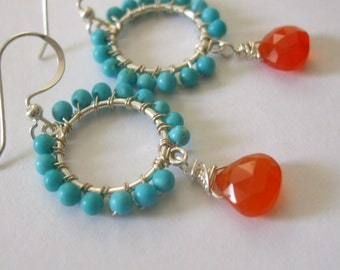 Turquoise and Carnelian Small Wire Wrapped Hoop Earrings