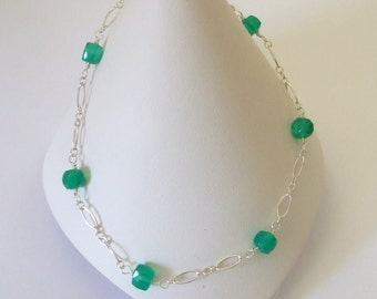 Green Anklet Green Onyx Chain Anklet Green Beaded Anklet Sterling Silver