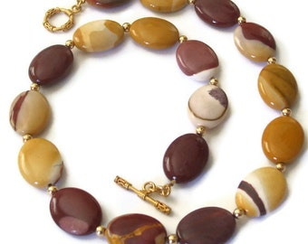 Mookaite Stone Necklace Natural Fall Jewelry Chunky Autumn Necklace