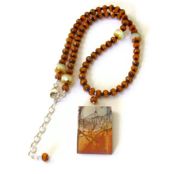 Picasso Jasper Beaded Necklace Fall Jewelry Rustic Necklace