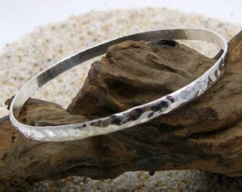 Silver Bangle Bracelet Hammered
