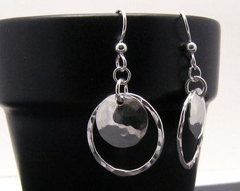 Sterling Silver Double Circle Dangle Earrings