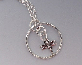 Dragonfly Charm Necklace Sterling Silver