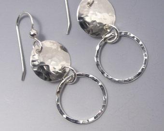 Two Circle Silver Dangle Earrings