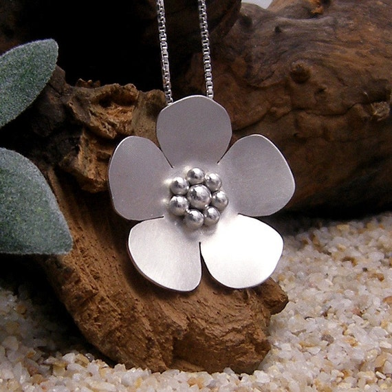 Silver Flower Pendant Necklace Cherry Blossom