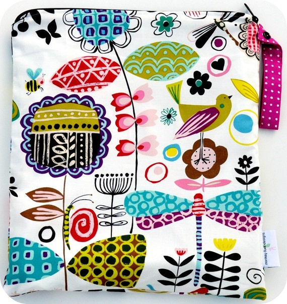 Large (14 x 16) Wet Bag Wetbag/ Alexander Henry June Bug Fabric / Perfect for Diapers / Gym / Swim / SEALED SEAMS and Snap Strap