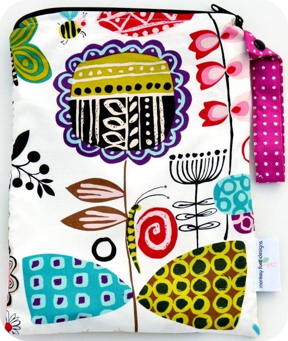 Medium 9 x 12 Wet bag Wetbag Swim / Diapers / Gym / Alexander Henry June Bug Fabric /  SEALED SEAMS and Snap Strap