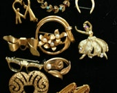 Lot of 9 Costume Jewelry Pins and 1 Clip Earring