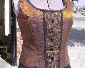 Copper women's Vest, Taffeta and Brocade Top, OOAK