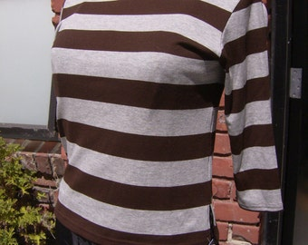 Brown and Grey Striped Retro T Shirt, Beatnik Shirt, 50's Style Top