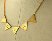 Personalize Brass Bunting Necklace