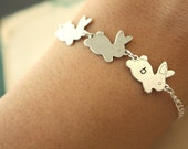 Initial 3 Bunnies Bracelet Silver Bunnies with Silver Chain