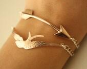 ROSE Gold Arrow and Rose GOLD Bird BRACELETS
